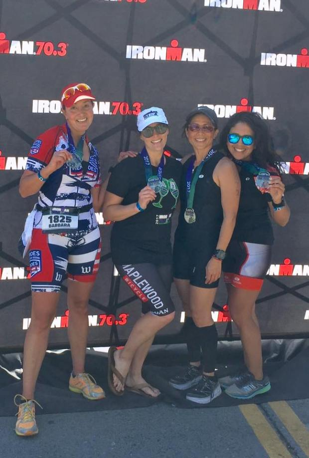 half iron man finisher medals with the ladies!